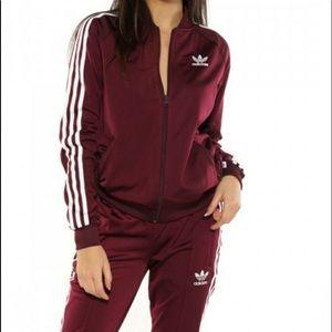 Burgundy Adidas track jacket